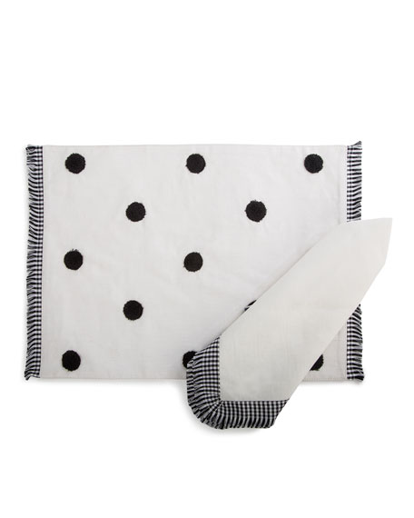 Gingham Trim Napkin, White