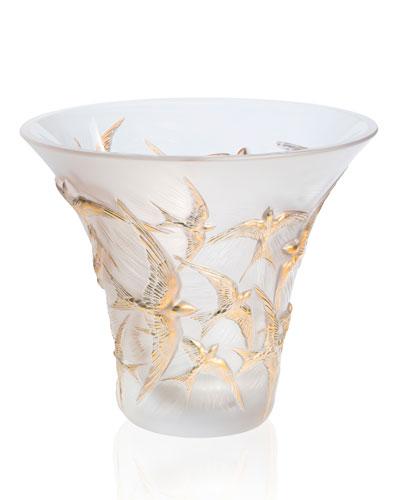Flared Gold Stamped Hirondelles Vase