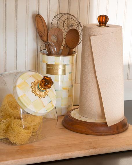 Parchment Check Wood Paper Towel Holder