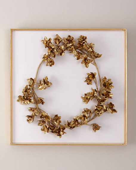 Golden Floral Crown on White Velvet Wall Art
