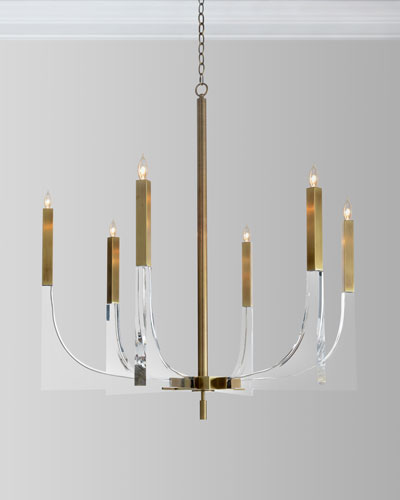Acrylic Brass Finish Chandelier  6 Lights