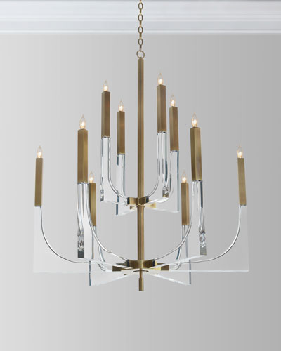 Acrylic Brass Finish Chandelier  10 Lights