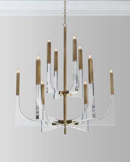 Acrylic Brass Finish Chandelier, 10 Lights