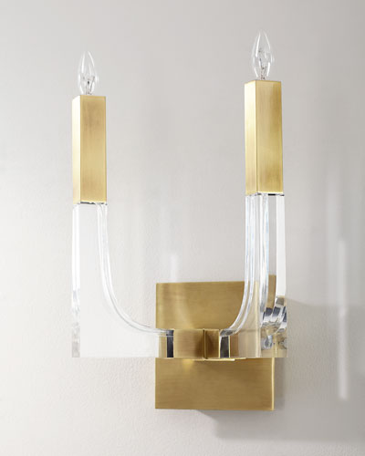 Acrylic and Brass Double-Light Wall Sconce