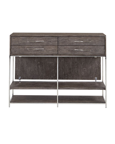 Astoria Stainless Steel and Wood Tall Console Table