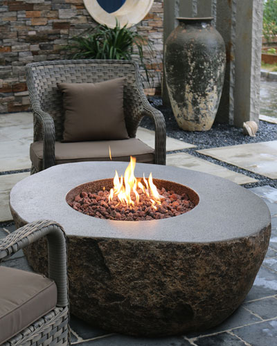 Boulder Outdoor Fire Pit Table with Natural Gas Assembly