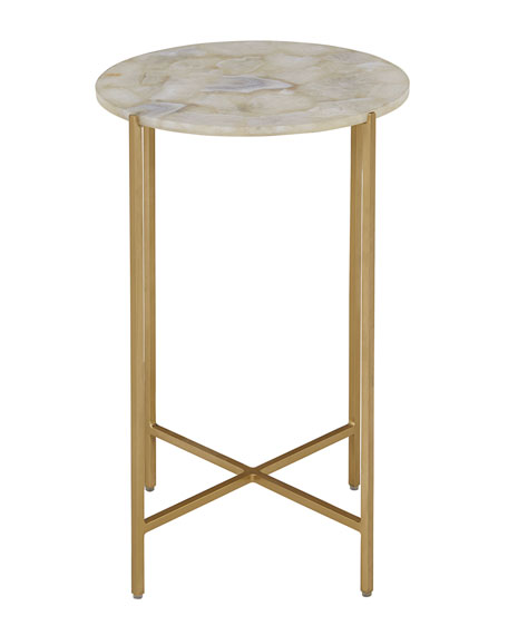 Blinn Round White Agate Side Table