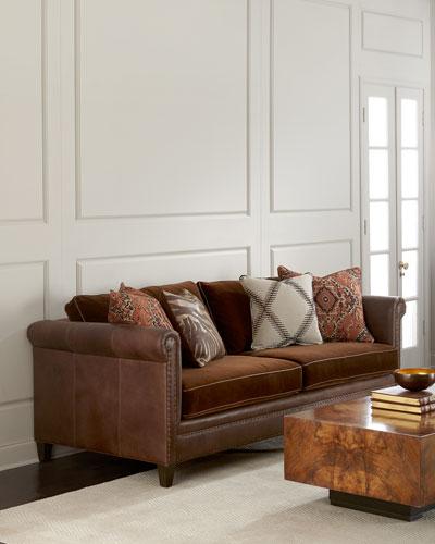 Durbin Leather and Mohair Sofa 92