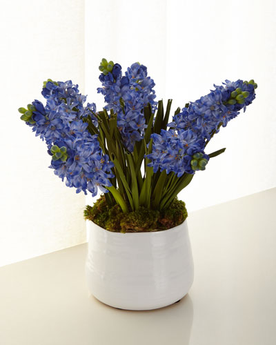 Blue Hyacinth Faux Floral Arrangement