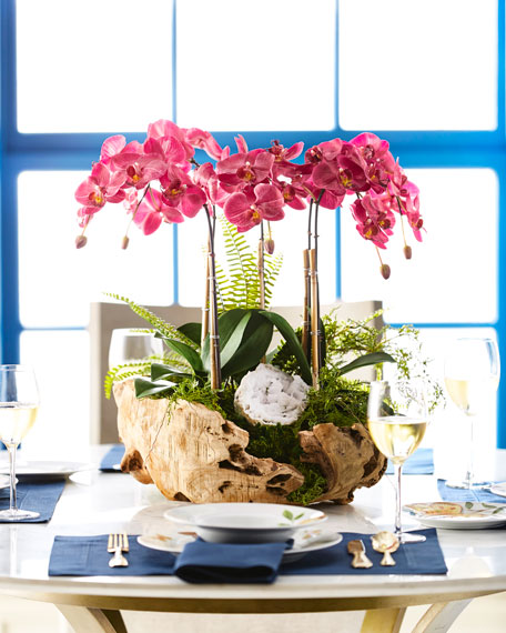 Orchid in Wood Bowl