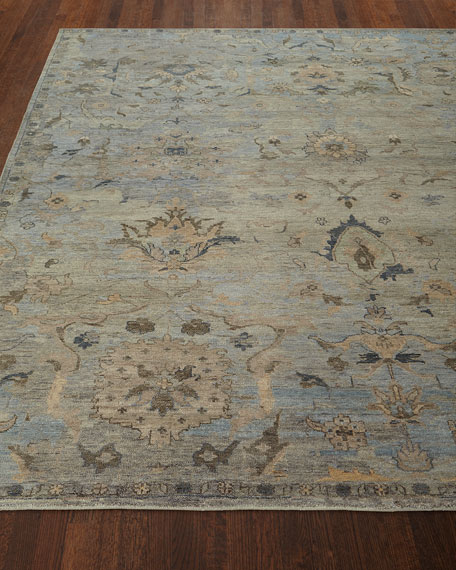 Cyan Sky Hand-Knotted Rug, 4' x 6'