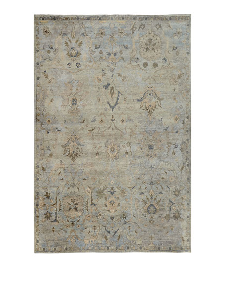 Cyan Sky Hand-Knotted Rug, 9' x 12'