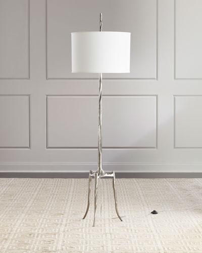 Trident Antiqued Nickel Floor Lamp