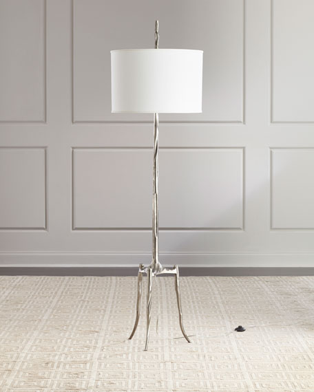 Global Views Trident Antiqued Nickel Floor Lamp