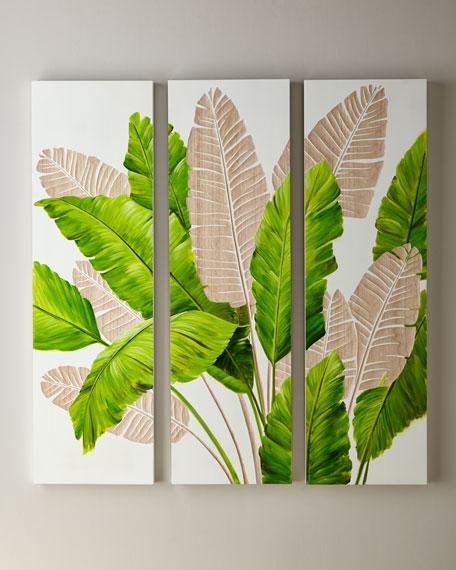 Palm Leaf Carved Wall Art, Set of 3