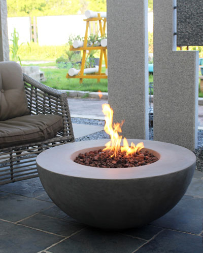 Lunar Bowl Outdoor Fire Pit Table with Propane Gas Assembly