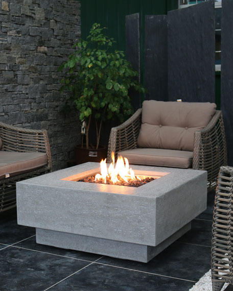 Manhattan Outdoor Fire Pit Table with Natural Gas Assembly