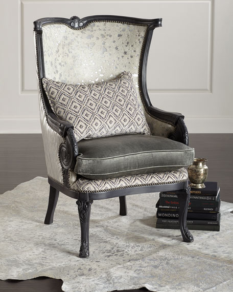 Massoud Tina Hair Hide Wing Chair