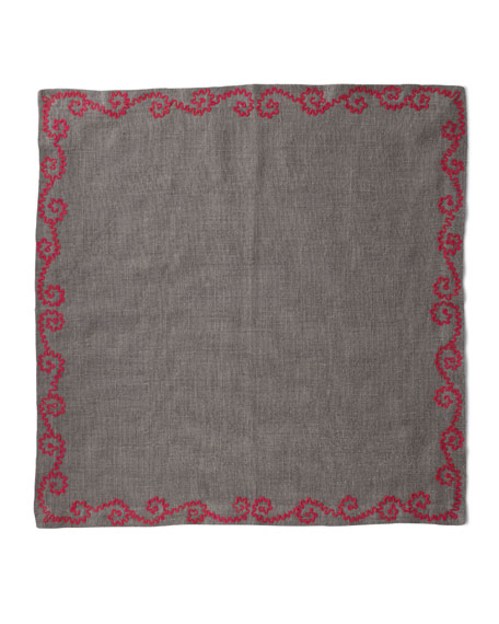Pine Cone Hill Stone Washed Embroidered Shale Napkins,