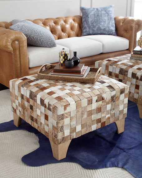 Macie Square Woven Hairhide Ottoman