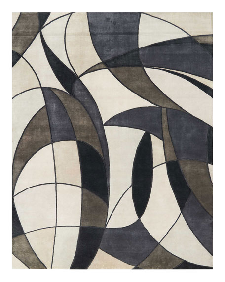 Asymetrie Mediterranean Hand-Knotted Rug, 8' x 10'