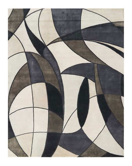 Asymetrie Mediterranean Hand-Knotted Rug, 10' x 14'