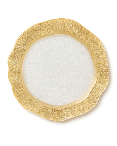 Rufolo Glass Organic Salad Plate  Gold