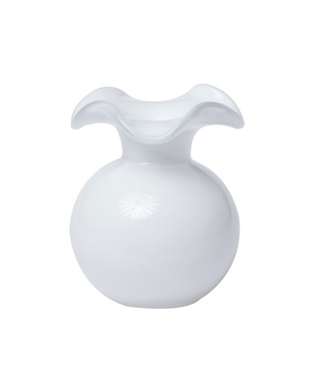 Hibiscus Glass Bud Vase, White
