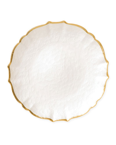Pastel Glass Service Plate/Charger  White