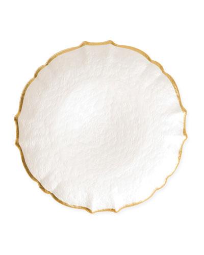 Pastel Glass Salad Plate  White