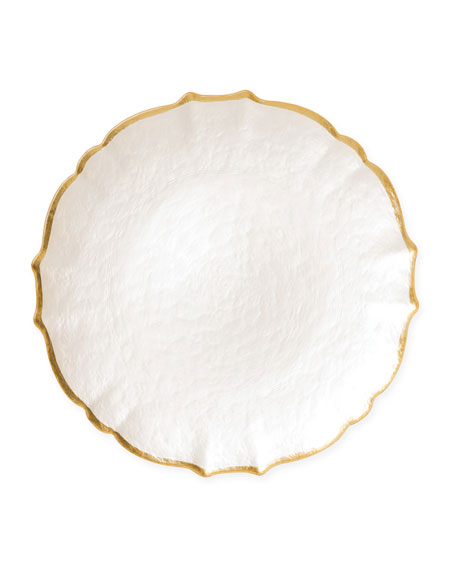 Pastel Glass Salad Plate, White