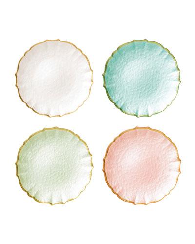 Pastel Glass Assorted Salad Plates  Set of 4
