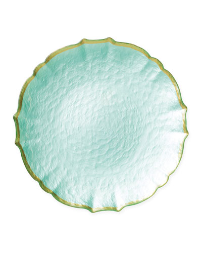 Pastel Glass Service Plate/Charger  Aqua