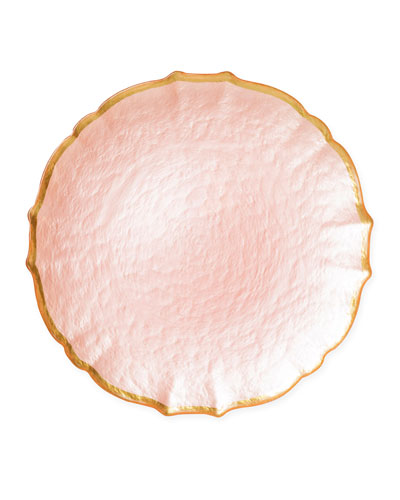 Pastel Glass Service Plate/Charger  Pink