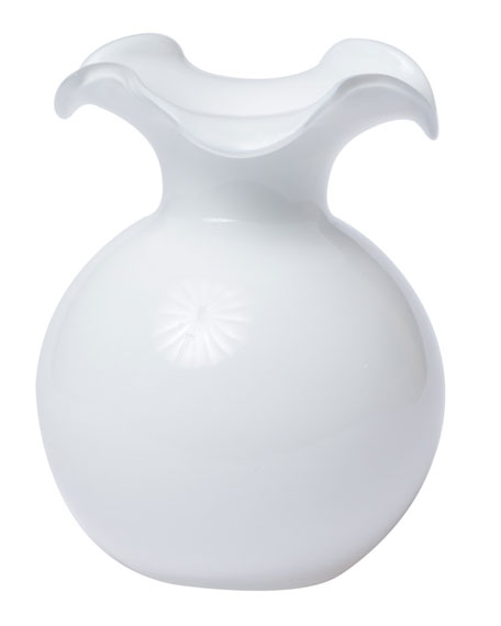 Hibiscus Glass Small Fluted Vase, White