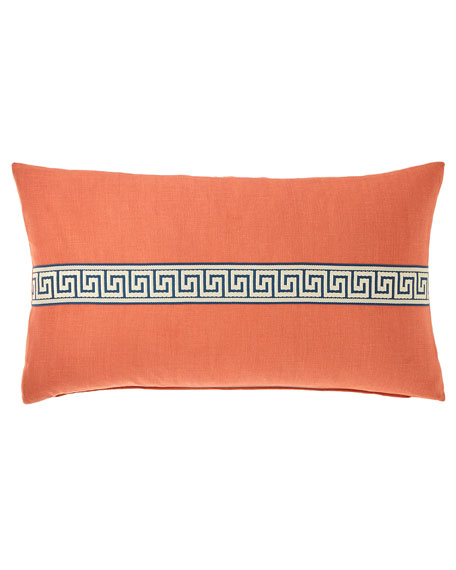 "Breeze Greek Key Pillow, 15"" x 26"""