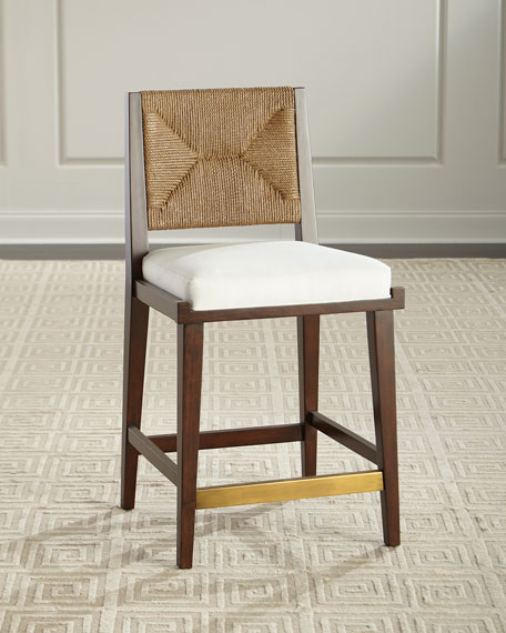 Palecek Gabby Upholstered and Jute Counter Stool