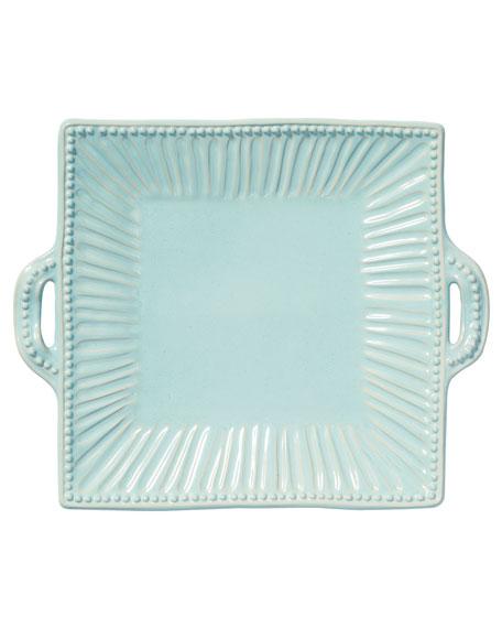 Incanto Stone Stripe Square Handled Platter, Aqua