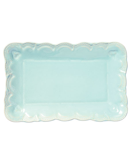 Incanto Stone Lace Small Rectangular Platter, Aqua