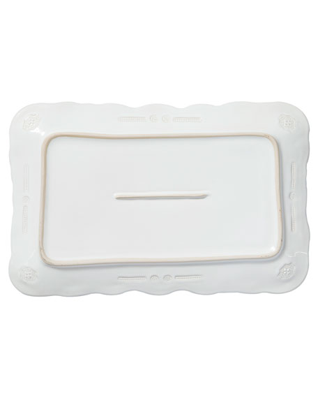 Incanto Stone Lace Small Rectangular Platter, White