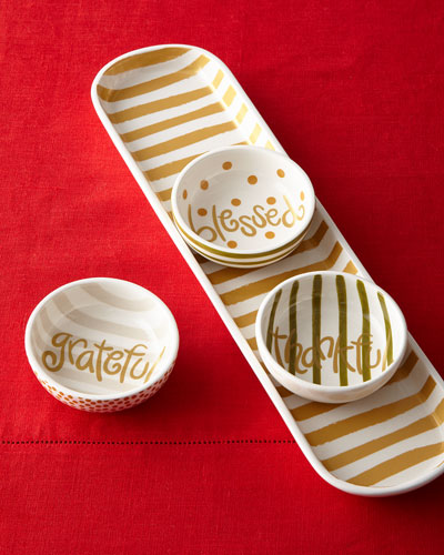 Thanks Gold Stripe Scoop Oval Tray & Dunes Dip Bowls Set