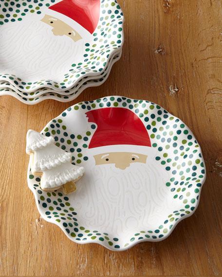 Christmas Plate Set.Ho Ho Santa Ruffle Christmas Plates Set Of 4