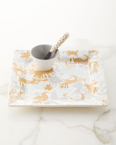 Otomi Square Platter with Small Bowl and Spreader Set