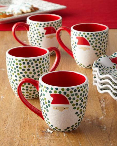 Ho Ho Santa Christmas Mugs, Set of 4