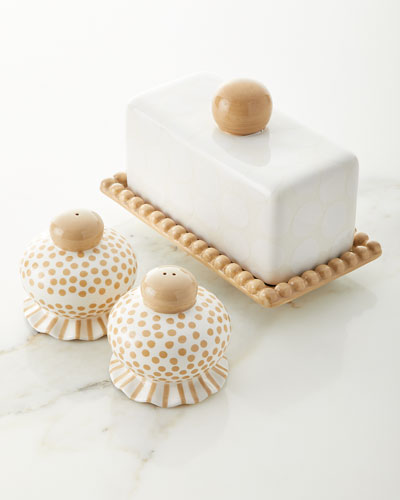 Ruffle Butter Dish with Salt and Pepper Set