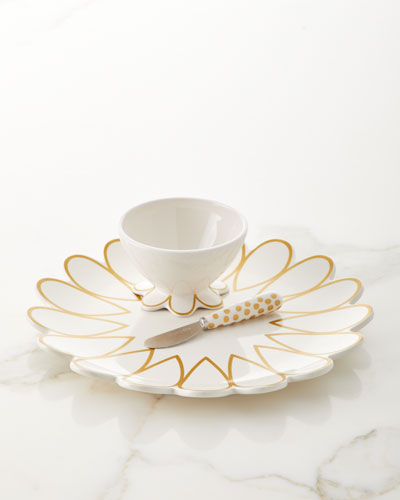 Scallop Platter and Bowl with Dot Spreader