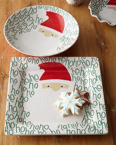 Ho Ho Santa Square Christmas Platter and Bowl Set