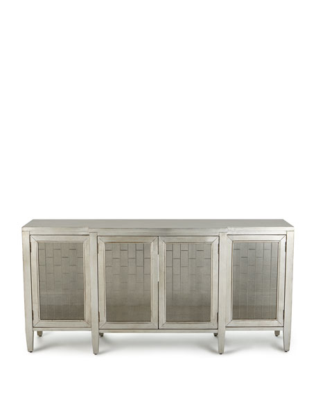 Cait Antiqued Silver Leaf Console