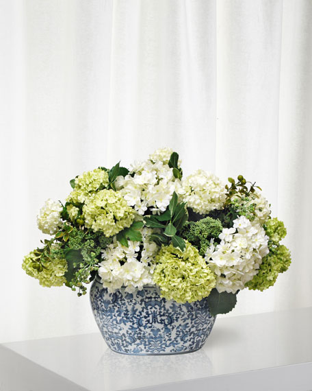 Hydrangea in Oval Planter