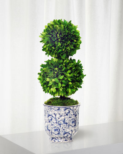 Double Ball Topiary in Cache Pot